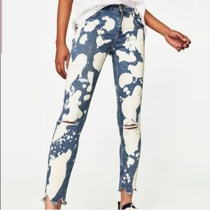 Zara bleach spotted distressed skinny jeans denim